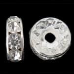 Strass Zwischenstück, Messing, Kreisring, silberfarben plattiert, mit Strass, frei von Nickel, Blei & Kadmium, 8x8x3.50mm, Bohrung:ca. 1.8mm, 1000PCs/Tasche, verkauft von Tasche