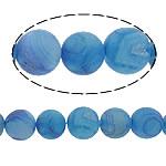 Natürliche Eis Quarz Achat Perlen, Eisquarz Achat, rund, blau, 14mm, Bohrung:ca. 1mm, Länge:ca. 16 ZollInch, 5SträngeStrang/Menge, verkauft von Menge