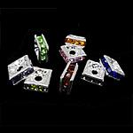 Strass Zwischenstück, Messing, Quadrat, silberfarben plattiert, mit Strass, gemischte Farben, frei von Nickel, Blei & Kadmium, 6x6x2.80mm, Bohrung:ca. 1.8mm, 400PCs/Tasche, verkauft von Tasche