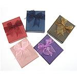 Karton Schmuckset Kasten, Anhänger & Fingerring & Ohrring & Halskette, Rechteck, gemischte Farben, 80x70x30mm, 24PCs/Menge, verkauft von Menge