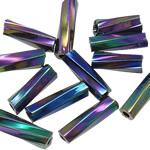 Bugles Seed Perlen drehen, Glas-Rocailles, Rohr, bunte Farbe plattiert, Twist, 2x6mm, Bohrung:ca. 1mm, verkauft von Tasche