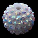 Harz Strass Perlen, Trommel, weiß, 16x18mm, Bohrung:ca. 3mm, 100PCs/Tasche, verkauft von Tasche
