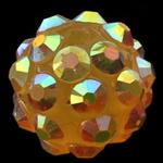 Harz Strass Perlen, Trommel, gelb, 10x12mm, Bohrung:ca. 2mm, 100PCs/Tasche, verkauft von Tasche
