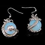 Opal Tropfen Ohrring, Messing Haken, Drachen, 20x45x16mm, 10PaarePärchen/Menge, verkauft von Menge