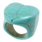 Türkis Fingerring, Synthetische Türkis, Herz, Türkisblau, 27mm, 19mm, Größe:8, 50PCs/Menge, verkauft von Menge