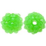 Harz Strass Perlen, Trommel, grün, 12x14mm, Bohrung:ca. 3mm, 100PCs/Tasche, verkauft von Tasche