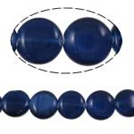 Cats Eye Perlen Schmuck, Katzenauge, flache Runde, tiefblau, 8x3mm, Bohrung:ca. 1mm, ca. 48PCs/Strang, verkauft per ca. 15.2 ZollInch Strang