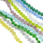 Cats Eye Perlen Schmuck, Katzenauge, Herz, gemischte Farben, 8x8x4mm, Bohrung:ca. 1mm, Länge:ca. 14.2-15.6 ZollInch, 10SträngeStrang/Tasche, ca. 45PCs/Strang, verkauft von Tasche