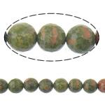 Unakit Perlen, Unakite, rund, facettierte, 8mm, Bohrung:ca. 1mm, Länge:15 ZollInch, 10SträngeStrang/Menge, ca. 46PCs/Strang, verkauft von Menge