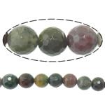 Natürliche Indian Achat Perlen, Indischer Achat, rund, Maschine facettiert, 6mm, Bohrung:ca. 1.5mm, Länge:ca. 15 ZollInch, 10SträngeStrang/Menge, ca. 63PCs/Strang, verkauft von Menge