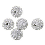 Strass Ton befestigte Perlen, rund, mit 55 Stücken von Strasssteinen, 10mm, Bohrung:ca. 2mm, 100PCs/Menge, verkauft von Menge