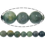 Natürliche Moos Achat Perlen, rund, 6mm, Bohrung:ca. 1mm, Länge:ca. 15.5 ZollInch, 20SträngeStrang/Menge, ca. 65PCs/Strang, verkauft von Menge