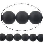 Natürliche schwarze Achat Perlen, Schwarzer Achat, rund, satiniert, 10mm, Bohrung:ca. 1-1.2mm, Länge:15 ZollInch, 10SträngeStrang/Menge, verkauft von Menge