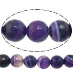 Natürliche violette Achat Perlen, Violetter Achat, rund, verschiedene Größen vorhanden & Maschine facettiert & Streifen, Bohrung:ca. 1-1.2mm, Länge:ca. 15 ZollInch, verkauft von Menge