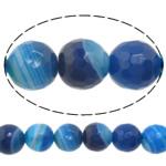 Natürliche blaue Achat Perlen, Blauer Achat, rund, Maschine facettiert & Streifen, 6mm, Bohrung:ca. 0.8-1mm, Länge:ca. 15 ZollInch, 10SträngeStrang/Menge, verkauft von Menge