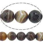 Natürliche Kaffee Achat Perlen, rund, Maschine facettiert & Streifen, 6mm, Bohrung:ca. 0.8-1mm, Länge:ca. 15 ZollInch, 10SträngeStrang/Menge, verkauft von Menge