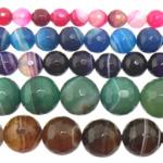 Achat Perlen, gemischter Achat, rund, Streifen, gemischte Farben, 12mm, Bohrung:ca. 1-1.5mm, Länge:15 ZollInch, 5SträngeStrang/Menge, verkauft von Menge