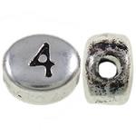 Zink Legierung Alphabet Perlen, Zinklegierung, oval, antik silberfarben plattiert, frei von Nickel, Blei & Kadmium, 6x7x4mm, Bohrung:ca. 1.5mm, 1600PCs/kg, verkauft von kg
