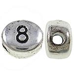 Zink Legierung Alphabet Perlen, Zinklegierung, oval, antik silberfarben plattiert, frei von Nickel, Blei & Kadmium, 6x7x4mm, Bohrung:ca. 1.5mm, 1250PCs/kg, verkauft von kg