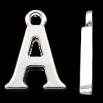 Zinklegierung Buchstaben Anhänger, silberfarben plattiert, frei von Nickel, Blei & Kadmium, 15.50x11x2mm, Bohrung:ca. 2mm, 10PCs/Tasche, verkauft von Tasche