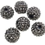 Harz Strass Perlen, Trommel, AB Farben platiniert, grau, 16x18mm, Bohrung:ca. 2.5mm, 100PCs/Tasche, verkauft von Tasche