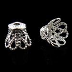 Eisen Perlenkappen, Blume, silberfarben plattiert, frei von Nickel, Blei & Kadmium, 8.5x6mm, Bohrung:ca. 1.5mm, ca. 10000PCs/Tasche, verkauft von Tasche