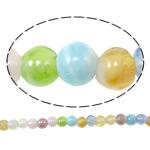 Plattierte Lampwork Perlen, rund, gemischte Farben, 6mm, Bohrung:ca. 1.5mm, Länge:ca. 11.8 ZollInch, 10SträngeStrang/Tasche, verkauft von Tasche