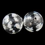 Mundgeblasene Lampwork Perlen, rund, handgemacht, hohl, weiß, 12mm, Bohrung:ca. 1-3mm, 50PCs/Tasche, verkauft von Tasche