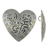 Zinklegierung Herz Anhänger, antik silberfarben plattiert, frei von Blei & Kadmium, 50x49x5mm, Bohrung:ca. 5.5mm, 10PCs/Tasche, verkauft von Tasche
