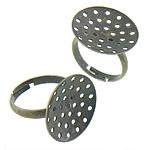 Messing Sieb Ring Basis, antike Bronzefarbe plattiert, einstellbar, frei von Nickel, Blei & Kadmium, 19.70x19.70mm, Innendurchmesser:ca. 17.3mm, Größe:6.5, 500PCs/Tasche, verkauft von Tasche