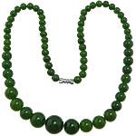 Edelstein Schmuck Halskette, weiße Jade, Zinklegierung Schraubschließe, rund, abgestufte Perlen, 6-14mm, verkauft per ca. 18 ZollInch Strang