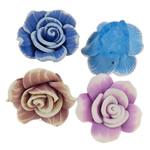 Polymer Ton Perlen , Blume, gemischte Farben, 23-27mm, Bohrung:ca. 2mm, ca. 100PCs/Tasche, verkauft von Tasche