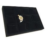 Uhrenständer, Baumwollsamt, mit Holz, Rechteck, schwarz, 355x240x40mm, verkauft von PC