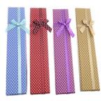 Karton Halskettenkasten, mit Satinband, Rechteck, mit Muster von runden Punkten, gemischte Farben, 42x210x21mm, 48PCs/Tasche, verkauft von Tasche