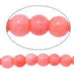 Natürliche Korallen Perlen, rund, Rosa, 3mm, Bohrung:ca. 0.8mm, Länge:ca. 16 ZollInch, 10SträngeStrang/Menge, ca. 135PCs/Strang, verkauft von Menge