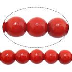 Natürliche Korallen Perlen, rund, rot, 7mm, Bohrung:ca. 1mm, Länge:ca. 16 ZollInch, 10SträngeStrang/Menge, ca. 58PCs/Strang, verkauft von Menge