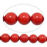 Natürliche Korallen Perlen, rund, rot, 9mm, Bohrung:ca. 1mm, Länge:ca. 15 ZollInch, 10SträngeStrang/Menge, ca. 43PCs/Strang, verkauft von Menge