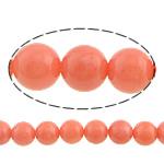 Natürliche Korallen Perlen, rund, rote Orange, 7mm, Bohrung:ca. 0.5mm, Länge:ca. 16 ZollInch, 10SträngeStrang/Menge, ca. 56PCs/Strang, verkauft von Menge