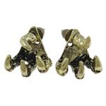Zinklegierung Ohrstecker, Edelstahl Stecker, antike Bronzefarbe plattiert, frei von Nickel, Blei & Kadmium, 14x16x9mm, 12PaarePärchen/Tasche, verkauft von Tasche