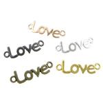 Buchstabe Zinkkegierung Schmuckverbinder, Zinklegierung, Wort Liebe, plattiert, 1/1-Schleife, gemischte Farben, frei von Nickel, Blei & Kadmium, 39x12x1.50mm, Bohrung:ca. 3.2mm, 100PCs/Tasche, verkauft von Tasche