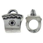 Zinklegierung Perlen Einstellung, Handtasche, antik silberfarben plattiert, frei von Nickel, Blei & Kadmium, 10x11.50x7.50mm, Bohrung:ca. 1.5x3.5mm, 10PCs/Tasche, verkauft von Tasche