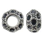 Zinklegierung Perlen Einstellung, Rondell, antik silberfarben plattiert, frei von Nickel, Blei & Kadmium, 10x6.5mm, Bohrung:ca. 5mm, 10PCs/Tasche, verkauft von Tasche