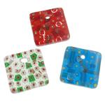 Millefiori Scheibe Glas Anhänger, Lampwork, Quadrat, handgemacht, mit Millefiori Scheibe, gemischte Farben, 40x40x7mm, Bohrung:ca. 6mm, 50PCs/Tasche, verkauft von Tasche