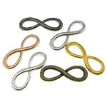 Unendlichkeit Zinklegierung Schmuckverbinder, Unendliche, plattiert, 1/1-Schleife, gemischte Farben, frei von Nickel, Blei & Kadmium, 30x10x2mm, 100PCs/Tasche, verkauft von Tasche