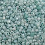 Ceylon Glas-Rocailles, rund, hellblau, 2x1.9mm, Bohrung:ca. 1mm, ca. 45000PCs/Tasche, verkauft von Tasche