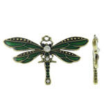 Zinklegierung Tier Anhänger, Libelle, antike Bronzefarbe plattiert, Emaille & mit Strass, grün, frei von Blei & Kadmium, 72.50x42x6mm, Bohrung:ca. 2.5mm, 10PCs/Tasche, verkauft von Tasche