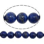 Lapislazuli Perlen, natürlicher Lapislazuli, rund, blau, 10mm, Bohrung:ca. 1.5mm, ca. 40PCs/Strang, verkauft per ca. 15.5 ZollInch Strang