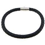 Kuhhaut Armband, Messing Magnetverschluss, Platinfarbe platiniert, schwarz, frei von Nickel, Blei & Kadmium, 6mm, 17x8mm, Länge:7.5 ZollInch, 50SträngeStrang/Menge, verkauft von Menge
