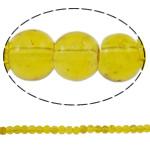 Knistern Glasperlen, Glas, rund, gelb, 4mm, Bohrung:ca. 1mm, Länge:ca. 31.5 ZollInch, 10SträngeStrang/Tasche, verkauft von Tasche