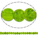 Knistern Glasperlen, Glas, rund, apfelgrün, 4mm, Bohrung:ca. 1mm, Länge:ca. 31.5 ZollInch, 10SträngeStrang/Tasche, verkauft von Tasche